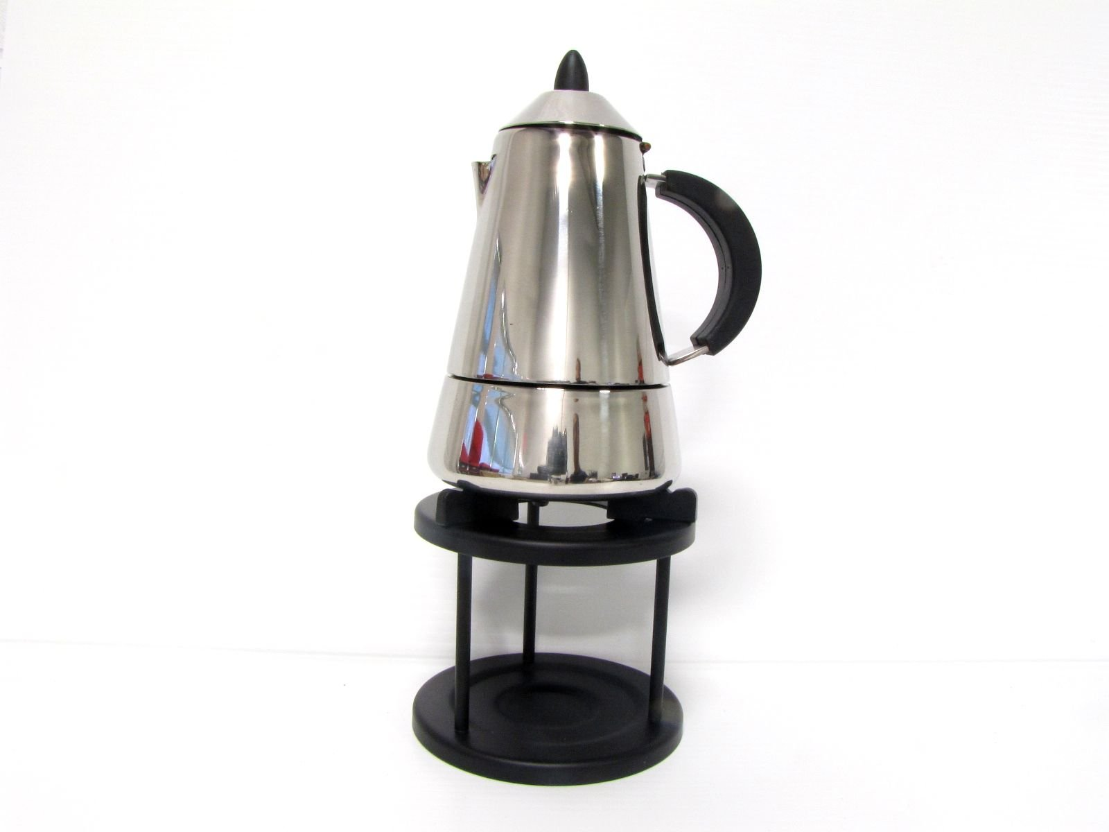 Pyramid 6cup Espresso maker (10oz, 300ml) Stainless steel with warmer stand