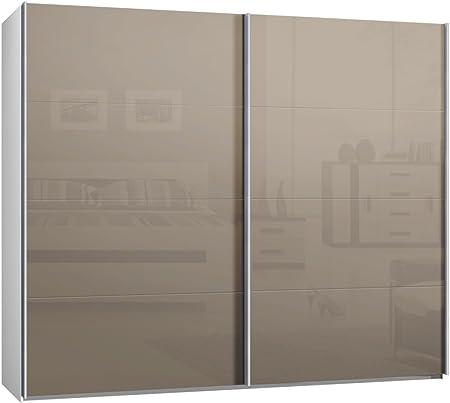 Armario ropero de puertas correderas, aprox. 270 cm, con puertas de cristal en capuchino, armario con puertas correderas.: Amazon.es: Hogar