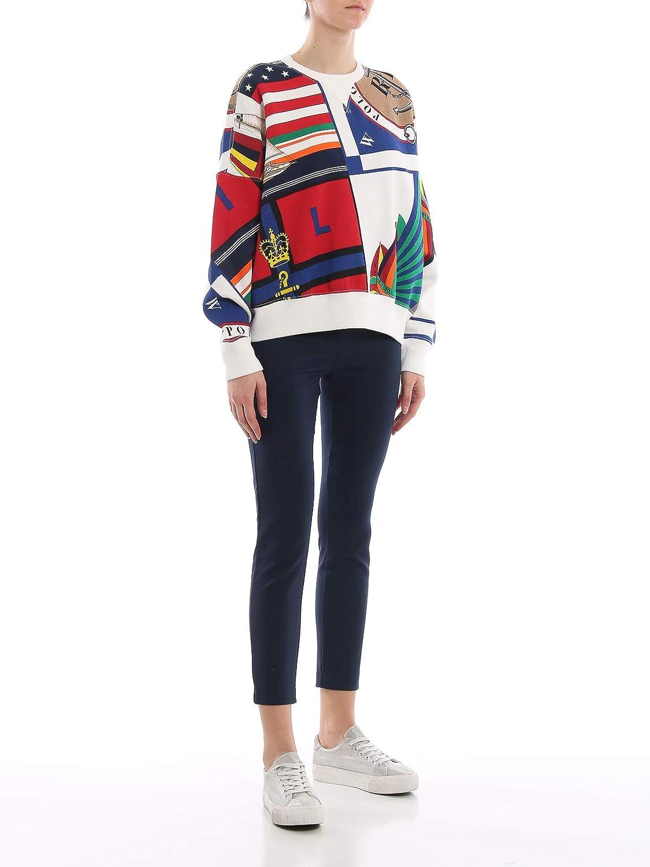 Polo Ralph Lauren Felpa Oversize in Cotone Stampato 211732453001 Bianco Donna