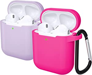 Laffav Airpods Case Soft Silicone Shockproof Wireless Charging Airpods Earbuds Case Cover Skin with Keychain kit Set Compatible for Apple AirPods 1 & 2 (Front LED Visible), 2 Pack, Lavender Rose Pink