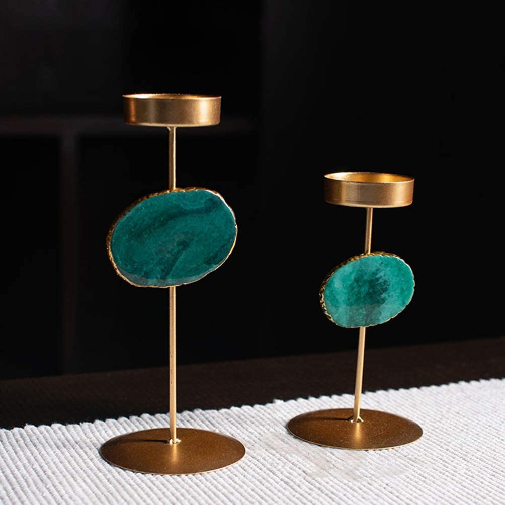 Golden Green NUOBESTY Agate Candle Holder Decorative Candlestick Holder Pillar Tea Light Candle Holders For Wedding Dinning Party