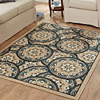 Better Homes and Gardens Area Rug Blue Tokens Driftwood Olefin
