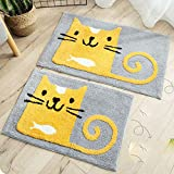 NOMSOCR Bathroom Cartoon Rug Carpet, Super Soft Microfiber Bathroom Mat, Non-Slip, Water Absorbent, Washable Bath Rug and Mat for Tub Shower, Kitchen, Bedroon (17.7x25.6inches, Cat)