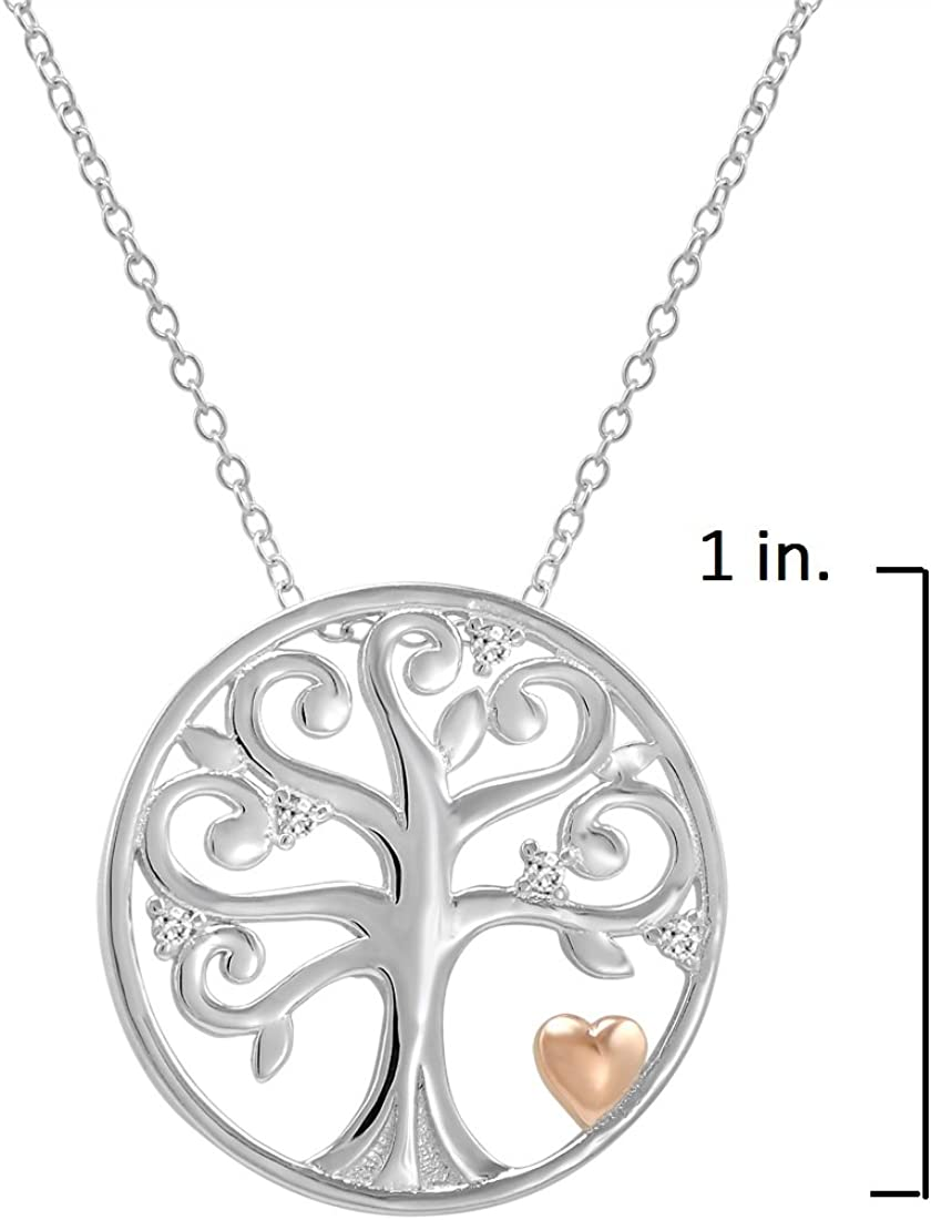 Life Tree Silver Necklace Rose Gold Plated Silver Life Tree Necklace with Black Zircons