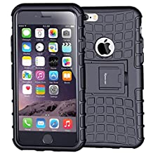 iPhone 6 Case,iPhone 6s Case,Armor Heavy Duty Protection Rugged Dual Layer Hybrid Shockproof Case Protective Cover for Apple iPhone 6 6S 4.7 Inch with Built-in Kickstand (Black)