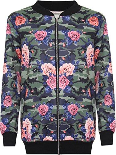 Nuevas señoras manga larga floral printed Bomber chaqueta con cremallera Top Camoflage Rose