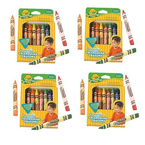 Toddler Triangle Crayons - Set of Four 8 ct. Crayola Anti-Roll Triangle Crayons