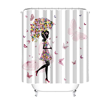 Haoshang Pink Butterfly And Girl Bathroom Decor Shower Curtain Waterproof Mildewproof Polyester Fabric 66x72 Inch