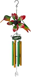 Evergreen Garden Beautiful Summer Hummingbird Decorative Wind Chime - 12 x 4 x 30 Inches Fade and Weather Resistant Outdoor Decoration for Homes, Yards and Gardens