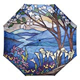 Galleria Stained Glass Landscape Auto-Open/Close Extra Lg Rain Folding Umbrella