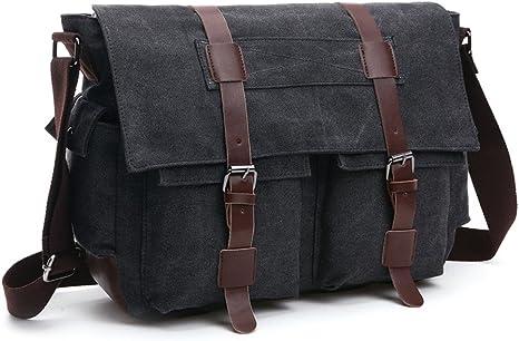 Men Vintage Canvas Leather Satchel School Military Shoulder Bag Messenger Bag MA