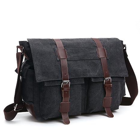 Losmile Shoulder Bag Mens Messenger Bags 16 Inches Vintage Military Canvas Laptop Bag For Work And School Multiple Pocket Large Black Amazon Co Uk