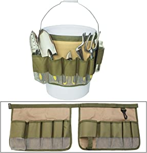 FCOUIID Gardening Tools Bucket Caddy - Hardware Storage Bag Pouch Organizer Hold 5 Gallon Bucket Yard Lawn Tool Carrier for Outdoor, Without Tools