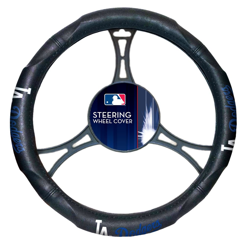 Northwest NOR-1MLB605000015RET Los Angeles Dodgers MLB Steering Wheel Cover, 14.5 to 15.5