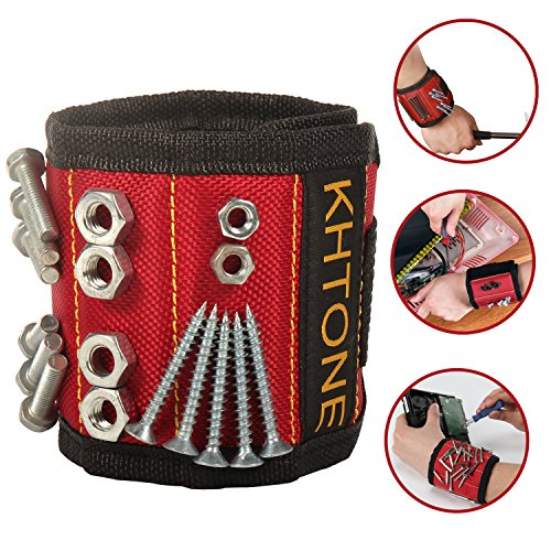 KHTONE Magnetic Wristband, UPGRADED 5Embedded Super Powerful Magnets, Holds Small Metal Tools for DIY Hand Man and Carpenter (Wrist Magnet)