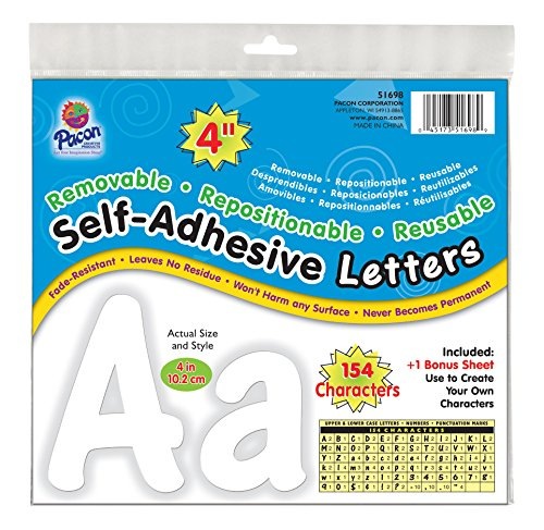 "Pacon 4"" Self-Adhesive Uppercase and Lowercase Letters, 154-Count, White (51698)"