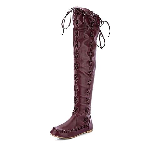 9778775b0ef HEmei Botas Altas para Mujer Tacón Alto La Rodilla Botas largas Botas de  Cuero Delgadas Botines