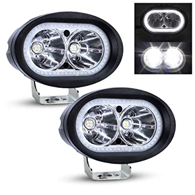 "Dual Halo Led Headlight, Ourbest Led Motorcycle Driving Lights, Spot Beam Cree 4"" 20W Fog Auxiliary Lights Work Pods For Trucks Cars Jeep Off Road Boat(2Pcs, White): Automotive"