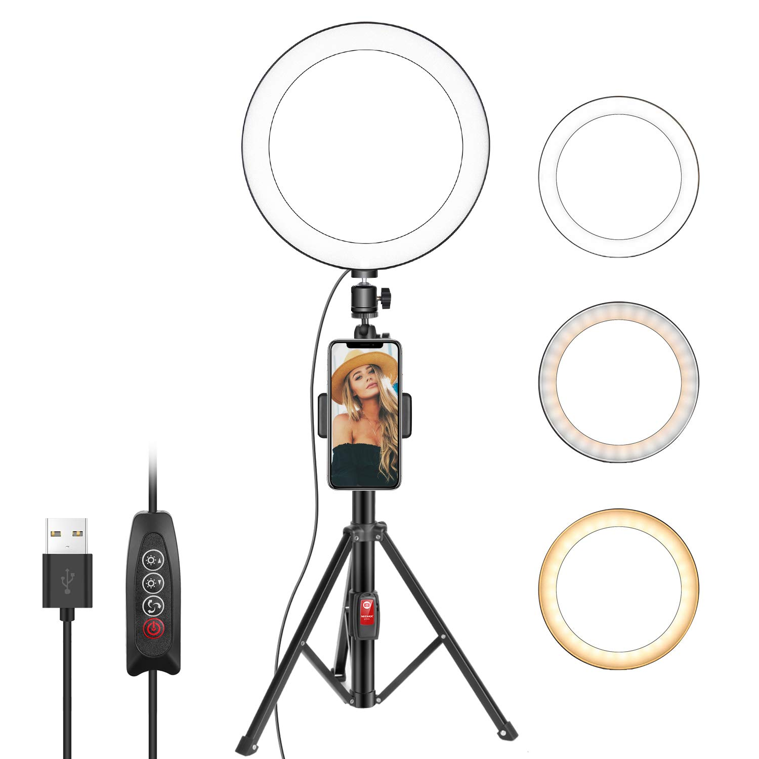 Neewer 10 Inches Selfie Ring Light with Tripod Stand and Cell Phone Holder for Live Stream/Makeup, Mini Led Camera Ringlight for YouTube Video/Photography Compatible with iPhone Xs Max XR Android by Neewer