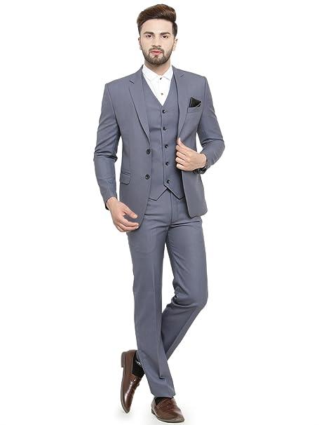 cdf50c13c11 LUXURAZI Men's Grey Raymond Sapphire Terry Wool 3 Piece Suit: Amazon.in:  Clothing & Accessories