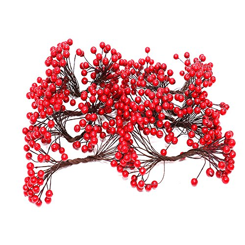 Holiday Fruit Garland - HUELE 250 Counts Artificial Red Christmas Berries Stamens Decor for DIY Garland and Holiday Ornaments Christmas Tree Decorations