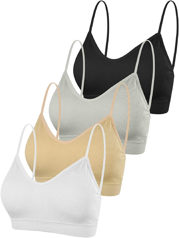 Voqeen 4 Piezas Sujetador con Cuello en V y Top de Tubo Sin Costura Acolchado Bralette Correas Sujetador Deportivo Camisole para Mujer y niña
