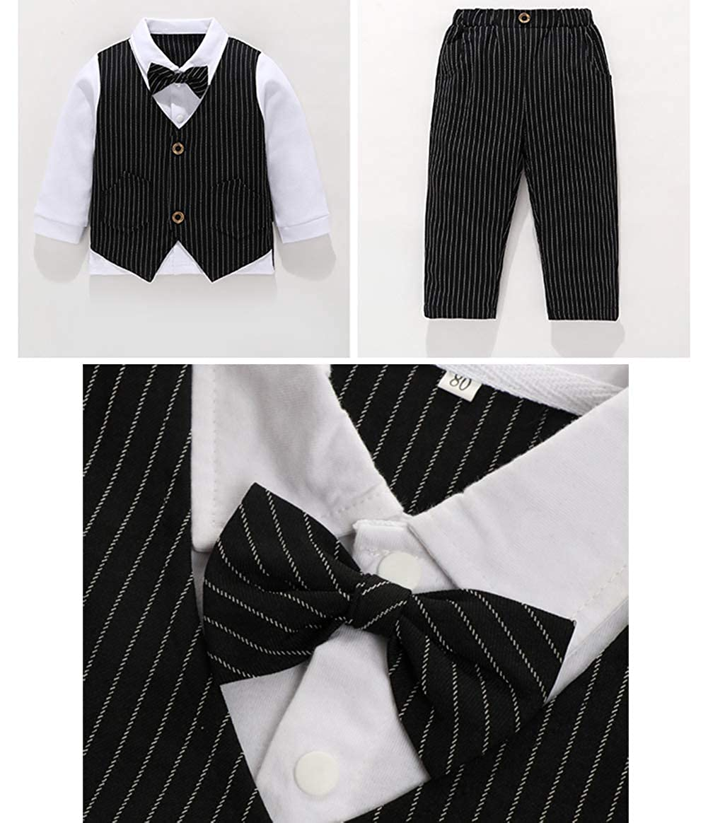 Feidoog Baby Boys Gentleman Formal Short Sleeve Outfits Suits Bow Ties Shirts Vest Pants Toddler Clothes Sets