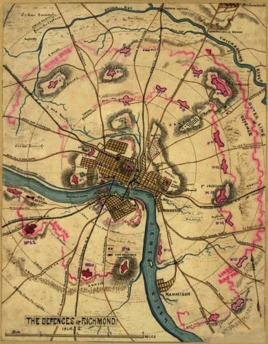 1864 Map The defenses of Richmond, 1864 Shows the fortifications surrounding Richmond including, Brook Run to the north, and Harrison's Landing to the south. The James River and major roads - Locator Store Country Style