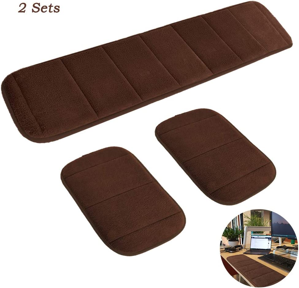 2 Sets Ergonomic Computer Elbow Wrist Pad, AUHOKY Long & Short Size Combination Keyboard Wrist Rest Elbow Support Mat for Office Desktop Working Gaming - Memory Foam Relieve Elbow Pain (Brown)