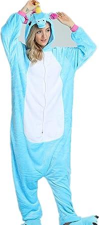 Kenmont Unicornio Juguetes y Juegos Traje Disfraz Animal Ropa de Dormir Cosplay Disfraces Pijamas para Adulto Niños (XL: 178-188CM, Azul)