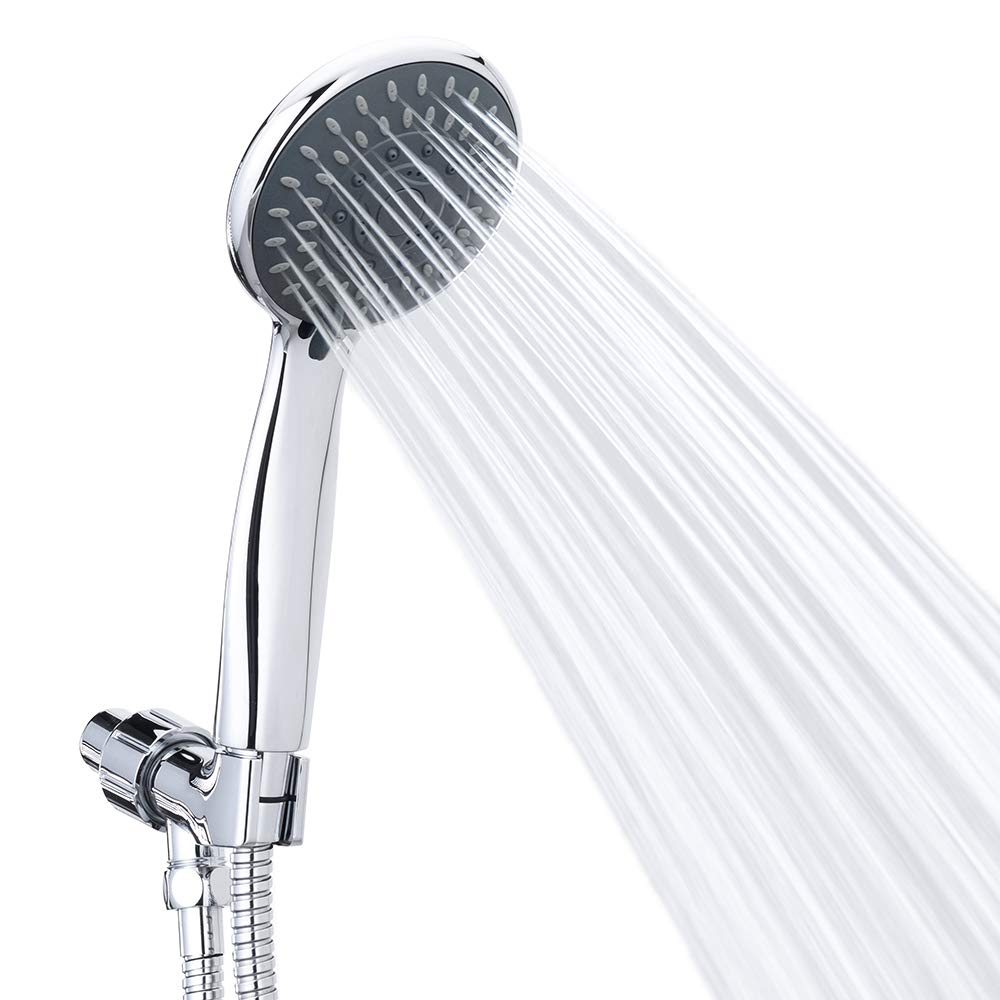 Handheld Shower Head High Pressure 5 Spray Settings Massage Spa Detachable Hand Held Showerhead Chrome Face with Hose and Adjustable Bracket