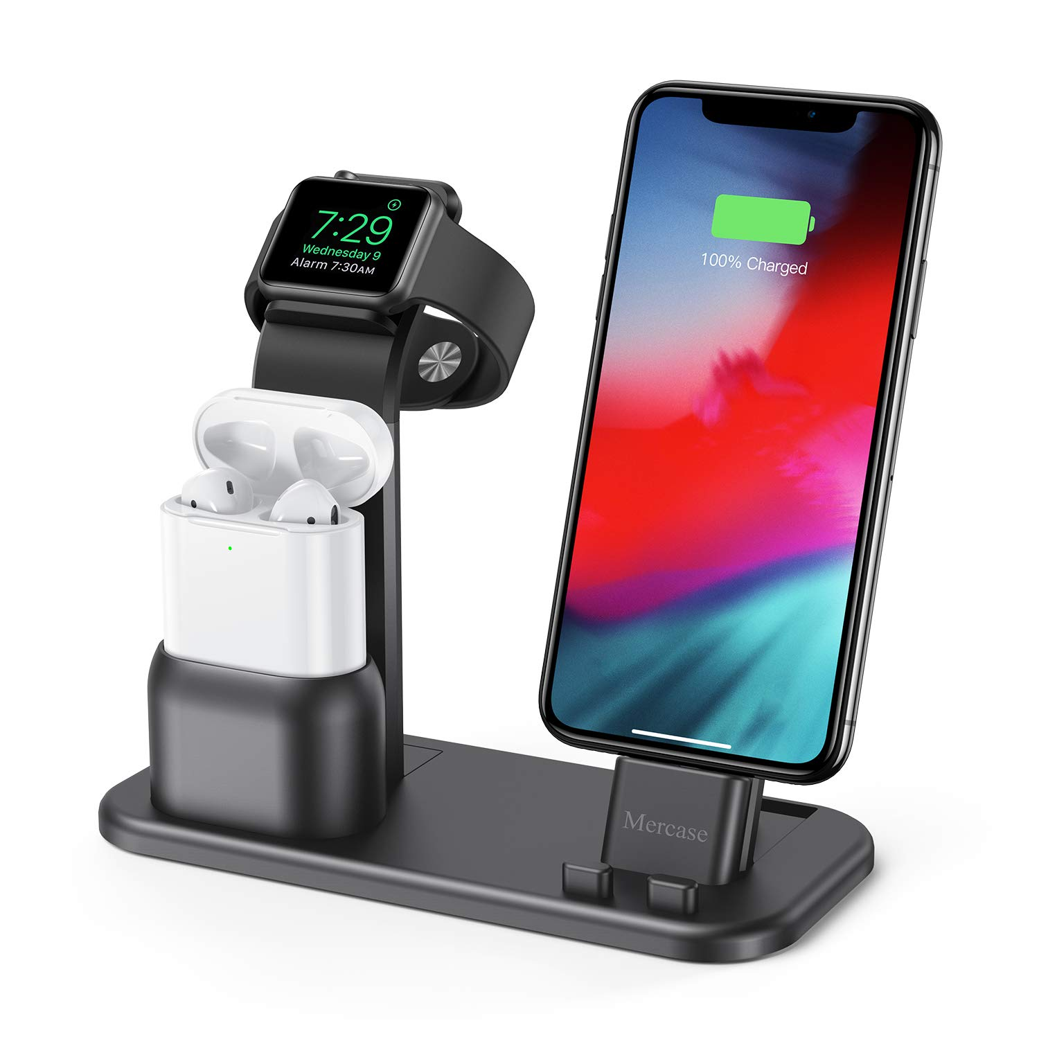 Mercase Apple Charging Station,3 in 1 Aluminum Charging Dock for iPhone Apple Watch and AirPods,Compatible with AirPods,iWatch Series 4/3/2/1,iPhone Xs/X Max/XR/X/8/8 (Space Grey+ USB Cable) by Mercase