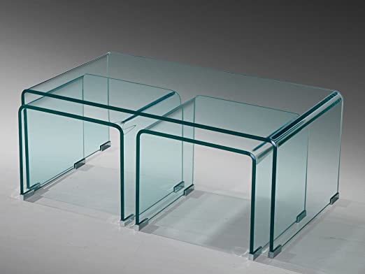 Glastisch Couchtisch Beistelltisch 3er Set Gebogen Esg Glas Amazon