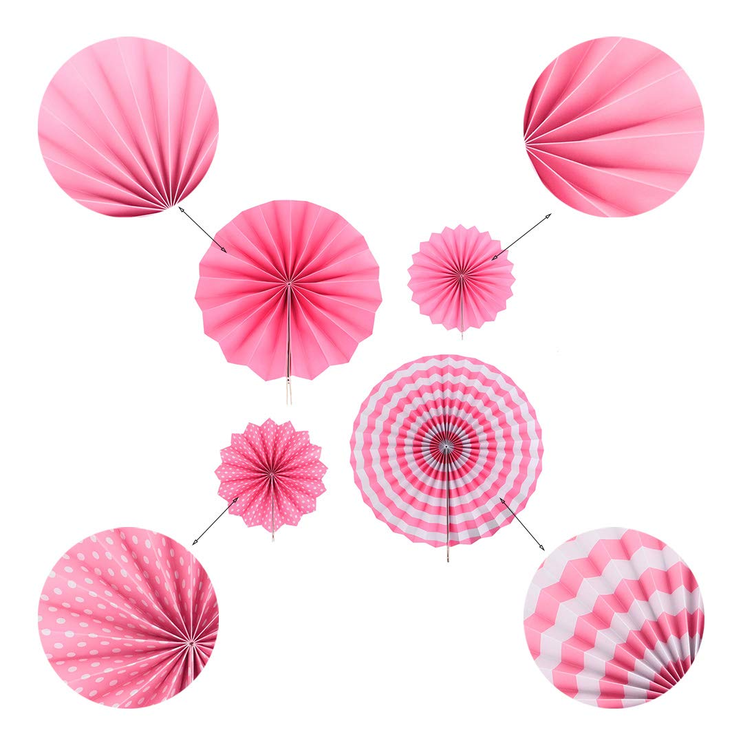 Multifit Pack of 12 Mexican Colorful Round Hanging Paper Fan for Home Party Decoration