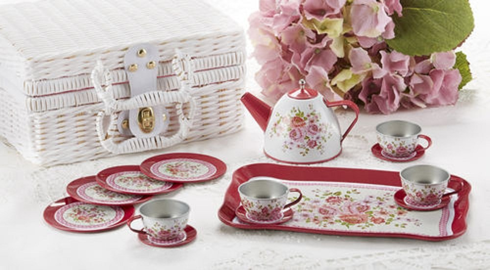Tin 15pc Tea Set in Basket, Peony Delton Products 8001-6