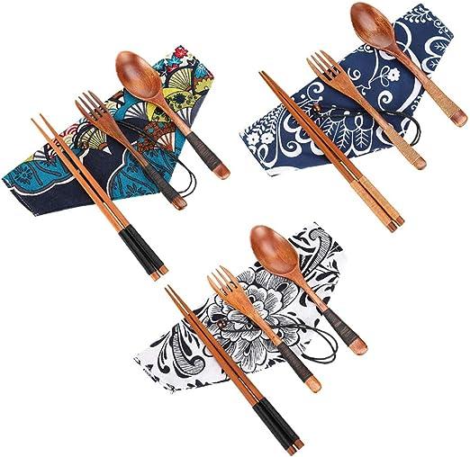 Tanersoned 3 Juegos de Cubertería de Bambú, Cubiertos Portátil Ecológicos Incluye Palillos Cuchara Tenedor,Utensilios Madera de Japonés para Camping ...