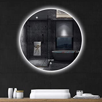 Sdk Bathroom Mirror Led Stepless Dimming Color Round Wall Mirror Touch Switch Display Time Size 70cm
