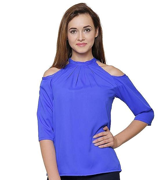 0b03cfe8bf0 indietoga Women Royal Blue polycrepe Cold Shoulder top (Plus Size M ...