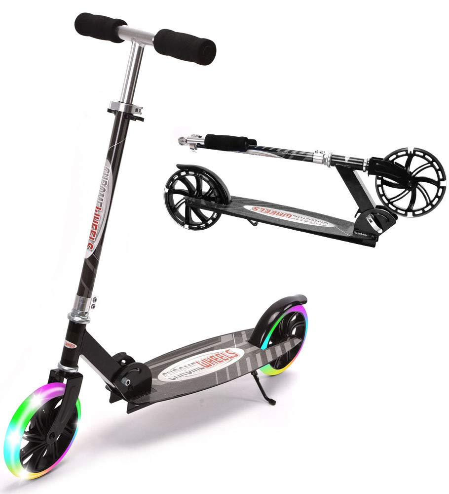 ChromeWheels Kick Scooter, Deluxe 8'' Large 2 Light Up Wheels Wide Deck 5 Adjustable Height with Kickstand Foldable Scooters, Best Gift for Age 6 up Kids Girls Boys Teens, 200lb Weight Limit, Black by ChromeWheels