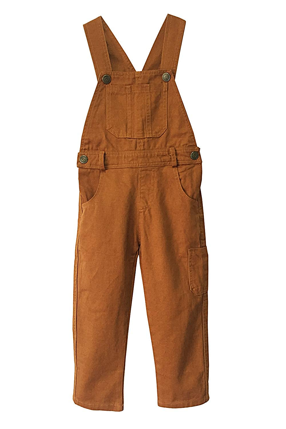 Grandwish Boys Brown Canvas Dungarees Unisex 3-10 Years