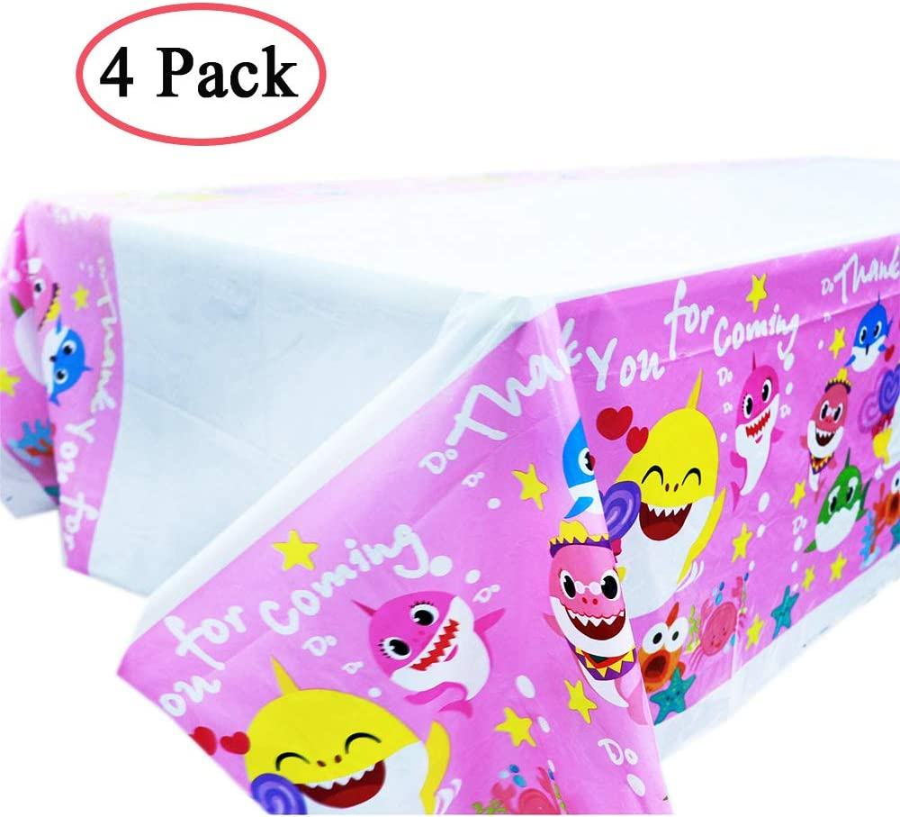"""Know me Baby Shark Table Cover 70"""" x 42"""" Baby Shark Birthday Party Supplies Decorations Tablecloth"""