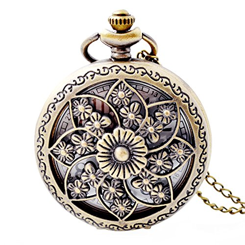 Pocket Watch Pendant Vintage Style Flower Scale Quartz Movement with Chain for Women Girls Bronze from HHP-Life