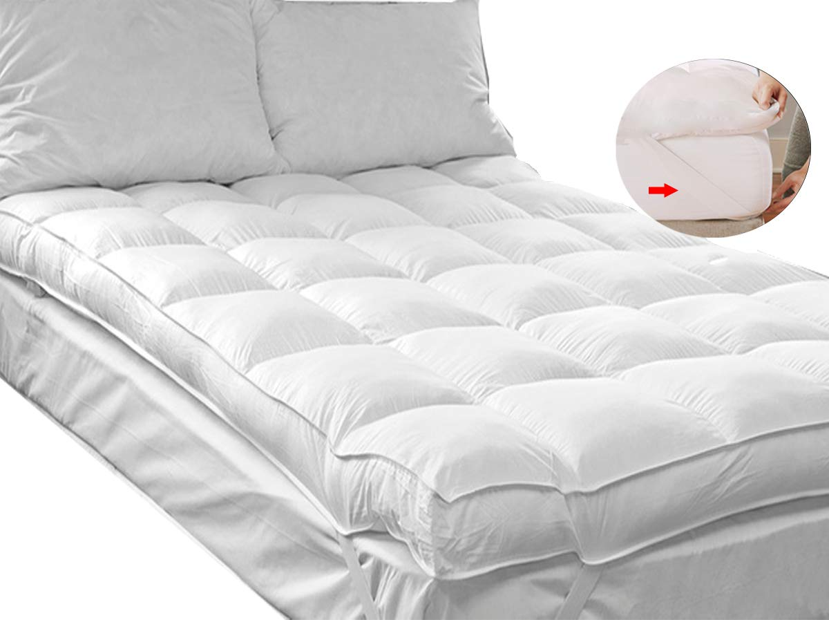 QUEEN ROSE Mattress Pillow Topper(King), Plush Pillow Top Mattress Pad Cover Topper,Hotel Quality Hypoallergenic Down Alternative,Soft and Firm with Baffle Box Construction,3'' H by QUEEN ROSE