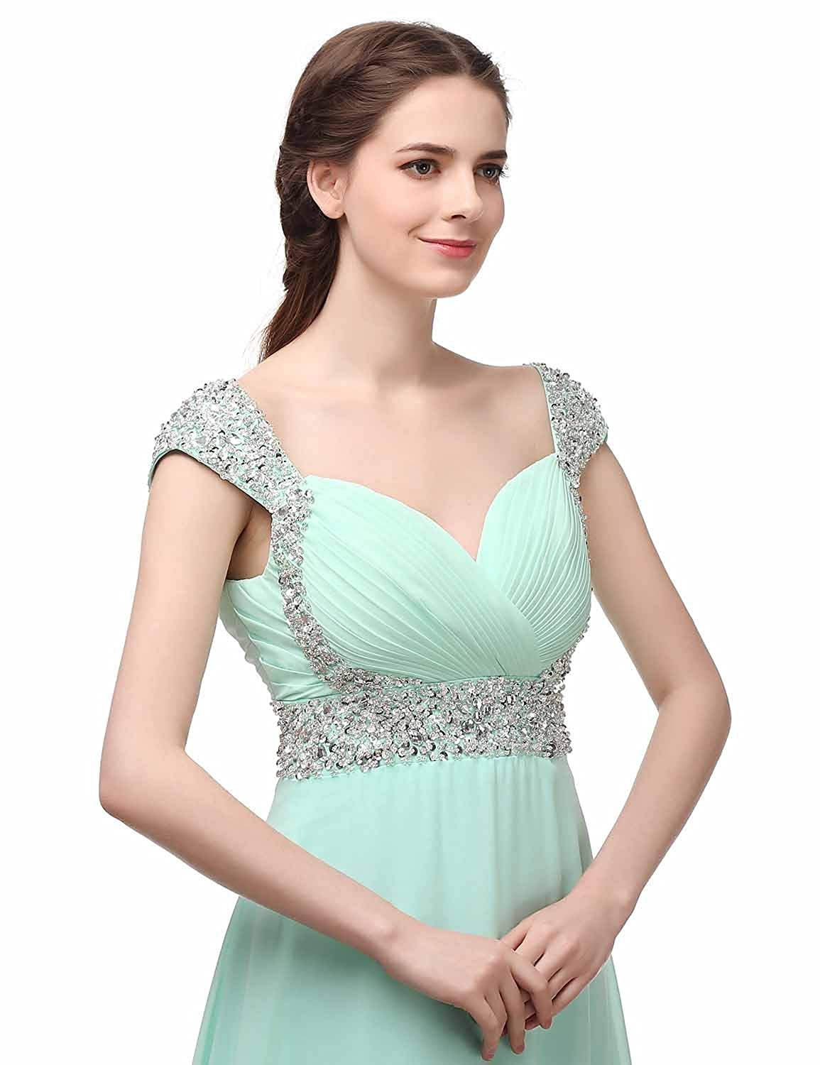 Monalia Womens Beaded Chiffon Long Prom Dresses 2018 Formal Bridesmaid Gown P022 at Amazon Womens Clothing store: