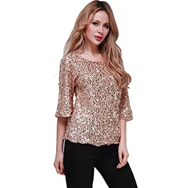 a2ea8461f29 Linkings Femme Shirt Blouse Haut Paillette