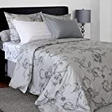 LikeaHome Floral Duvet Cover Set & Fitted Sheet (15'' Deep Pocket) Cotton Sateen 4-pcs Bed Set Soft & Silky Uvisni Sateen Collection European Quality Bedding (Queen Size, Victorian Pattern on Grey)