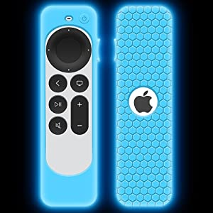 Case for Apple TV 4K 2021 Remote Control, Protective Apple Siri Remote 2nd Generation/Apple TV 6 Generation Cover Replacement New Silicone Sleeve Skin Holder Protector-Glow Blue