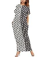 WoooInn Casual Long Dresses For Women Crew Neck Short Sleeve Black And White Polka Dot Print