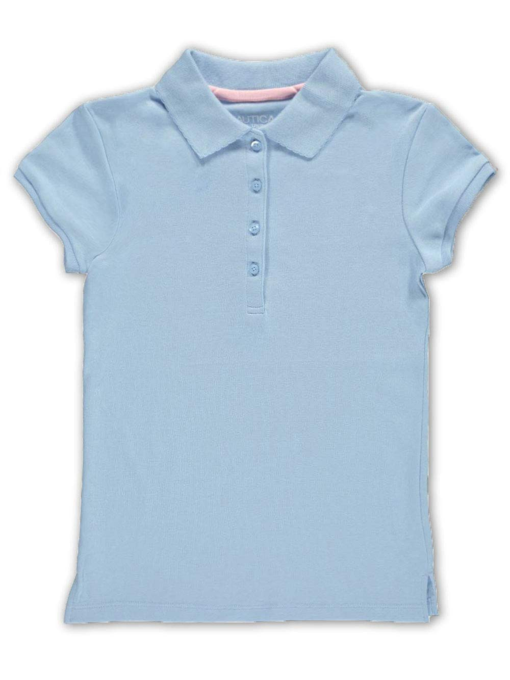 Nautica Girls' Short Sleeve Polo,Light Blue,Medium(8/10) by Nautica