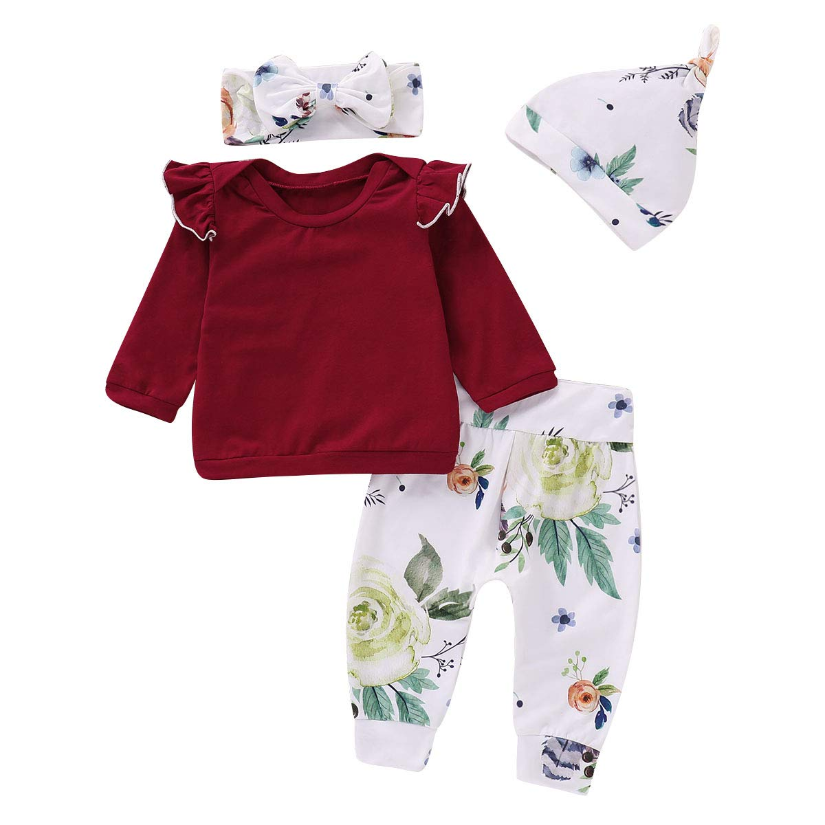 Toddler Baby Girls Fall Outfit Long Sleeve Ruffle Shirts+Floral Pants+Headband+Hat Clothes Set 4Pcs